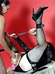 Strapon Jane really punishes this short haired TGirl with a big strapon cock.