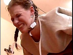 School girl restrained birched and caned red raw inthe heads study - real tears