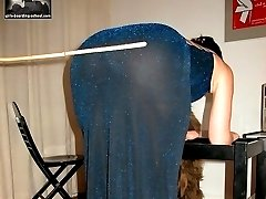 Pretty teen with pantyhose pulled down - severe caning on naked buttocks