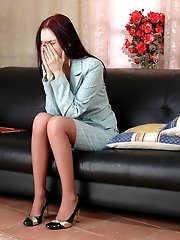 Lascivious secretary almost getting off from ass-fingering before wild anal