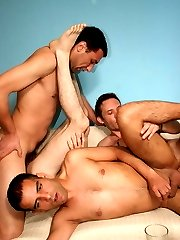 Sexy gay Jesse and his fuckbuddies get drunk and cram anals after sucking dongs in this gangbang...