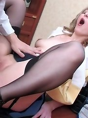 Lewd French maid spreading her butt cheeks for steamy ass-screwing on table