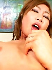 Thick lipped Asian takes a cum shot in her eye after Julians hardcore fuck