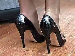Michelle knows how sexy you feel about women in heels so she takes off her expensive patent...