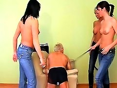 Spanking boot worship femdom action