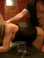 Slave applicant Kristine Kahill is tied to the cross and offered up to the Brunch guests.Slave...
