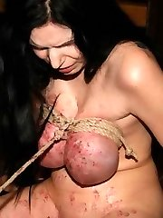 I like to pour hot wax over my slaves hot tits as part of their breast bondage punishment...