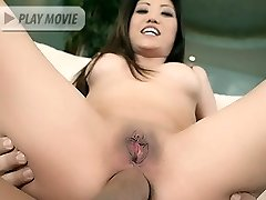 Asian pornstar Kaiya Lynn shows us her bald pussy while a cock fills her tight butthole