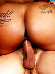 Thick, bubble butt black babe takes on white cock!
