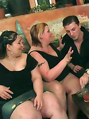 Incredible BBW orgy shows sluts sucking and fucking for fun on the floor of the pub