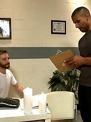 Muscled hunk Robert Axel decides its time to take a trip down to the massage parlor. The two...