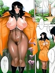 Drawn slave female in pantyhose shows off huge tits