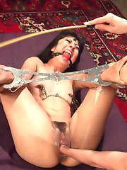 Crawling to the throne of Mona Wales, submissive slut Vivi Marie eagerly awaits servicing her...