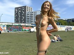 Infamous party girl, Lullu Gun loves tromping around bound and naked. Put on an electronic beat...