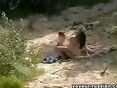 A nudist couple escaped tothe bushes for secret screwing in various positions