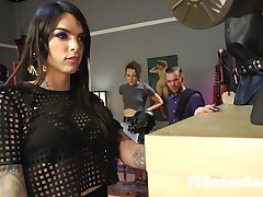 Sexy, horny Chelsea Marie lets herself into a fetish shop at closing time and immediately starts...