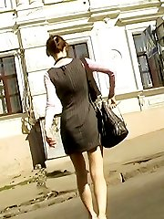 The petite female with black upskirt