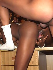 Cutie black bitch in white socks gets anally drilled by a monster cock
