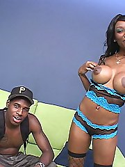 Ebony teen big tit hottie in lingerie sucks big black dick