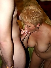 "Tracy gets a mouth full of a member's ""Canadian Bacon""!"