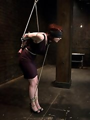 Carmen Stark is a member of Sexandsubmission.com who lives out her fantasy of being bound up and fucked by Mark Davis.  Her journey begins eyes covered in a strict elbow tie with weighted nipple clothespins.  She gets the whipping she desired about and a hard manstick down her throat.  Then, Carmen is ravaged in suspension bondage and has a long explosive climax.  Next, this lucky devotee gets bound, ball-gagged and deeply penetrated in her cock-squeezing ass.  Lastly she gets pounded with legs spread and swallows a fountain of come.