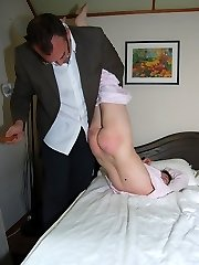 A severe smacking with the scrubbing brush on her naked bootie