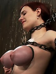 We've extended our steaming Device Restrain Bondage welcome to the super-cute 19 yr old Iona Mercy.  This sweet little lady is just beautiful, with a firm, curvy body  and congenital DD tits. Standing spread, we chain her against the wall with minimal, but very effective, iron.  This girl is not going anywhere.     Obviously we can't resist fucking with those incredible mounds.  We rubber band those ginormous ole boobies, turning them into pink melons.  Perfect targets for whips and floggers.  We clamp down on Iona's sensitive puffies and knead our Vibro to them to elicit some exclusive noises from our special lady.   By now Iona's pink pussy is swollen and dripping, so we finger drill a couple of orgasms out of her.  Then we break out the whip and fill Iona's turgid pink cunt with a dick and vibe, so we can enjoy witnessing this charming woman cum in bondage.  Welcome, Iona.