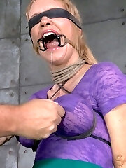 We've had this slut around before, honestly we can't keep her away. This big jugged doofy LIVES for this sort of thing. She hungers the bondage and rough handling with every fiber of her being. She needs it as painfully as air. What can you do with a slut like that? Bind them up and stuff them full of weenie until their eyes bulge of course.