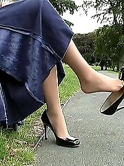 You are looking at Sophias expensive and elegant high stiletto. She is playful with her shoe,...