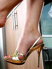 Striking babe loves her sweet feet and today shes burning to show you her treasure