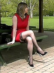 A sexy leg show in lace top stockings and a short dress. Louises shoes are pointed with very...