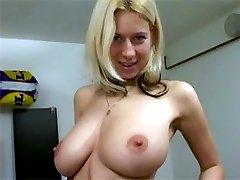 Big boobed blondie toying