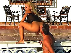 Foot and pussy femdom at the pool