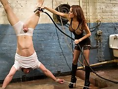 Mistress Gia Dimarco is pure lovemaking and evil in this strenuous dungeon scene! Long time Divine Bitch gimp, Jason Miller comes back to test his limits again after long hiatus. Domina Dimarco goes from 0 to 60 within seconds of this insatiable episode. Tough suspension bondage, water torture, cropping, chastity, ass worship, tease and denial, strap-on ass poking in suspension bondage and more!