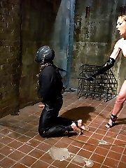 When the need for a house gimp came up, I looked to Miss Delilah Strong to train one.  She is a very tough and experienced player, and she recently starting domming for the company.In her first MIP shoot she shows amazing drive and initiative in drilling our measly worm boy to his knees where he belongs.Once he is taken down a peg, she teaches him the proper way to fuck and suck a woman through strict and painful lessons that he will not soon forget.