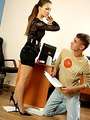 Strict lady boss with perfect legs orders the student to lick her sweet charming feet