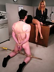 Isis turns the tables on this pushy office executive when his condescending attitude gets out of palm.  She quickly trains him the meaning of the word humility when she binds him up, hammers him and pulverizes him in the backside.  She gets off on her bosses face wedged in her bum and puss, and ultimately takes her fill of his miserable hard-on before compelling him to sign off on hoists for all the females in the company.