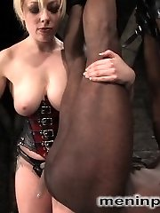 Seven has a mean streak and MIP is the perfect place for her to act out her wish.  Interracial dominance is the subject of the day, and Seven suspends, hits, humiliates and penetrates this scanty slave boy within an inch of ejaculation and makes him plead for release.