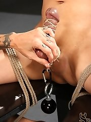 Simone Kross takes her slave down from his standing bondage and binds him to a chair so she can hang mighty weights from his testicles as she teases him with her nude body. She flogs his manmeat and body, then releases his forearm and instructs him to stroke his spear. Unable to cum, she locks him into chastity and sends him home.
