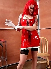 Goddess Soma is very skilled in flogging.  She has her slave bound to a chair, legs spread open with his cock and balls completely exposed.  Goddess Soma makes her slave feel the repeated imapct of her floggers.
