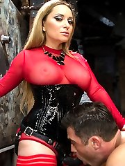 Cock tease, denial, edging and prostate milking are some of my favorite femdom activities and this femdom flick is packed with cock dripping goodness! Goddess Aiden Starr and Lance attend an Upper Floor party but sneak down to one of the sets to chat. This quickly turns into Aiden bossing Lance around and soon he finds himself naked, bound and edged over and over again. His prostate is relentlessly milked while cum oozes out and he even explodes from just prostate miking alone! There is pussy and ass worship, fisting, pegging and action, action, action! XO,Maitresse Madeline Marlowe