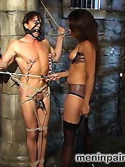Foot worshipers, this update is for you.  To start, Annie uses all her dominant female charms on the bound and gagged Steve-O - she teases his caged cock with her hot ass and mouth, canes him, zippers him, and stomps on his bare feet with her dangerously high heels.  Things get hotter in scene two when she puts her strap on cock down the helpless boy's tight throat, motivating him to suck her off with some rope CBT.  Mistress Cruz then takes her pleasure fucking the boy's tight ass and squirting cum all over him.  She finally allows him to worship her feet, but he must work for it.  She walks him around on a leash like a dog before jamming her sexy toes and feet into his eager mouth. He does such a good that she rewards him by sucking his cock and allowing him to fuck her feet while she cums over and over. Finally satisfied, Mistress rewards the boy by letting him lick her pussy, ass, legs and toes clean.