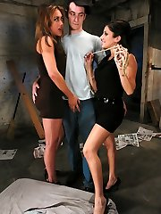 Nomad indeed does not know what is supreme for him or when to shut his xxl throat.  He thinks he is getting fortunate when these 2 hot pub honies, Sativa Rose and Gwen Diamond fall for his ridiculous pick up lines, but when they get him home things take a turn for the the worse for poor Nomad.   These 2 steamy, mean bitches tear this skimpy dude up and train him a lesson in humility that he will not soon forget.  They flog him, truss him up, take turns plowing his ass and facehole all the while teasing him about being so gullible as to think they would actually fall for his bullshit.   When they ultimately get bored they make fun of his rock hard cock and use it to get off before draining his come and feeding it to him in a very red-hot Three way smash scene.