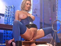 Slave Fluffy is passed around from Bitch to Bitch and this session he gets extra special treatment from Miss Torn. Bondage, caning, strap-on fucking and whipping with verbal humiliation while fucked deep in his ass with a fuck machine. His head is secured in a box while Cherry uses it to sit her nice round ass on his face while she has multiple orgasms and uses his tongue to clean it up. She relaxes with a smoke, using him as an ashtray & a spit receptacle and then gags him with a raw onion and leaves him there with CBT hanging from his cock and balls.