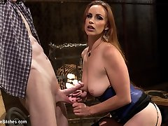 Mistress Bella Rossi electrifies her hard stallion and uses his electrified body and cock as a...
