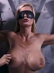 Busty babe takes several tit tortures