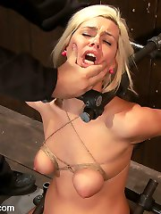 Hot little Tara Lynn Fox is back and trapped in hard metal bondage. Her neck is placed in a custom device bondage piece and her arms are bound back. Two pipes hold her hips in place so there is no hope of lifting off the most powerful vibrator on the planet. With her breast bound tight, we add painful nipple clamps and weights. A ball gag is buried down in her mouth as we slowly turn up the vibration. At first we administer orgasm denial, but soon we make her cum and cum and cum. Poor Tara can't stop the machine from making her cum over and over. Poor Tara, lucky us.