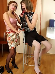 Lewd sissy stud wrapping his hands around sausage while getting strap-on boned