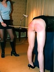 Severe caning for sweet blonde leaned over a chair - hot stripes and welts