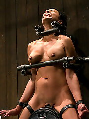 This is part 4 of Four from the October live show.  Beretta is made to excessively ejaculation over and over again while ravages and boinks of weights hang from her nipples and slit lips. The weight keeps her overly mushy clit pressed onto the destructive vibrating machine.